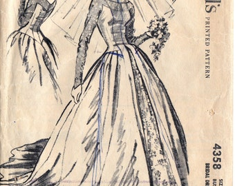 1950s Wedding Dress Pattern Rare McCall's 4358 Grace Kelly Style Bridal Gown with Train Size 14 Bust 34 inches