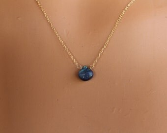 Blue Labradorite Necklace, Minimalist Necklace, Delicate, Layering Necklace, Gemstone Necklace, Dainty, Layered, Labradorite Pendant