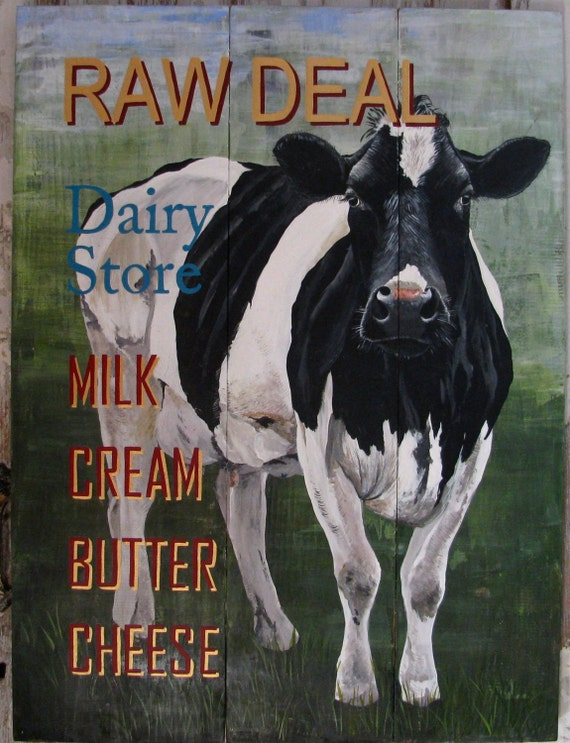 Raw Deal Cow painting original on re-purposed wood