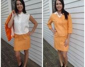 Vintage 60s Suit Polka Dot Blouse Orange Skirt Jacket 1960s Set XS S Sleeveless Top