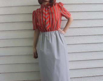Vintage Secretary Dress with Jacket 70s Red Bow Gray Striped Print Librarian S M
