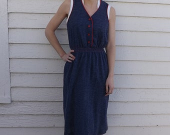 Vintage Blue Dress Sleeveless Summer Toni Petite S XS