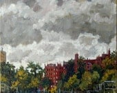 Clouds Over Inwood Hill Park, NYC. Original Realist Oil Painting on Canvas, 12x12 Urban Impressionist Plein Air Fine Art, Signed Original