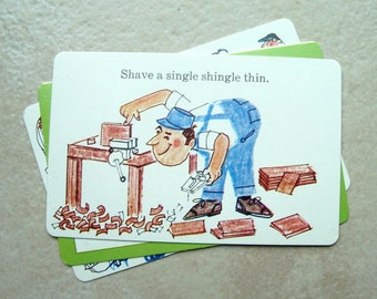 Tongue Twisters 1970 Highlights 3 Flash Cards Carpenter Tailors Illustration