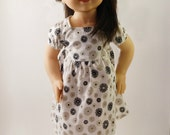 Black And White Small Flower Dress For 18 Inch Dolls