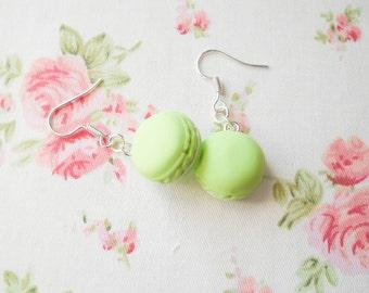 Pastel Green Macaron Earrings, Macaroon Earrings, French Macaroon, Sweet Lolita, Food Jewelry, Polymer Clay