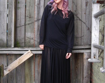 vintage 90s 1990s minimalist sheer black two piece outfit midi dress top designer Japanese