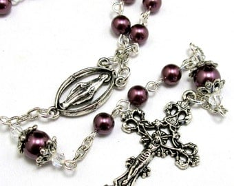 Catholic Rosary in Mauve Pearls