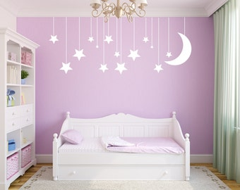 Vinyl wall decal of stars and moon wall decor D83