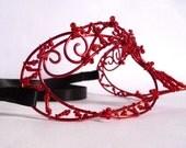 Red masquerade ball mask, halloween mask, womens mask, venetian mask, costumes, accessories, handmade mask