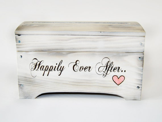 Medium 'Happily Ever After' Card Box for Wedding Cards in Shabby Chic white wash with card slot