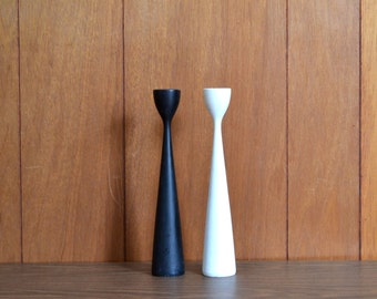 vintage danish modern black and white candle stick holders