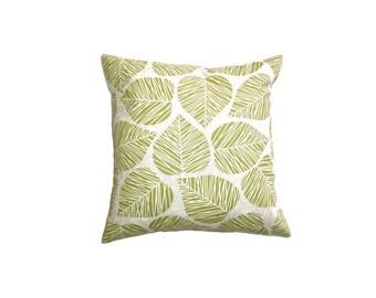 "Retro Leaf Cushion Cover Bright Print Cotton 14"" 35cm Pillow Case Green Block Screen Print Natural Bark Cloth Home Decor Living Gift Ideas"