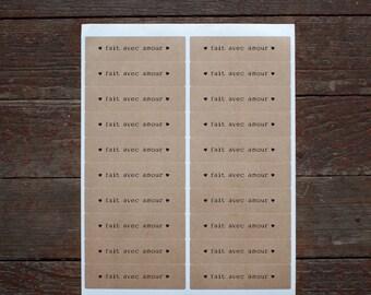 fait  avec amour - 40 Valentine Kraft Labels