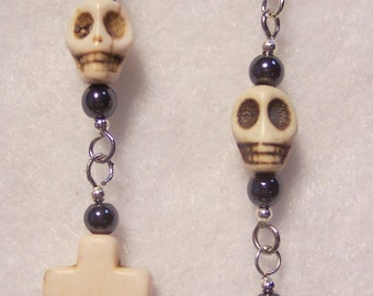 White Earrings, White Skulls, Black, White Cross, Goth Earrings, White Howlite Skull and Cross, Dangle Earrings, Hematite, Silver