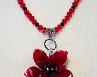 Red Necklace, Red Flower Necklace, Brilliant Red Necklace, Chunky Necklace, Red Crystals, Black Crystals, Large Glass Flower Focal