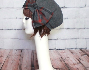Beret Hat Bow, Plaid Beret, French Beret, Fall Hat, Packable Hat, Grey Wool Beret Hat Bow