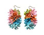 Pom Pom Earrings, Leather Earring, Pom Earrings, Sculptural Earring, Colorful Earrings, Fringe Earring, Statement Earring, Turquoise Earring