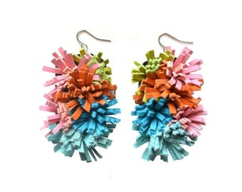 Colorful Leather Earrings, Fiber Art Jewelry, Spiky Coral Fiber Sea Anemone Sculptural Earrings, Pom Pom Fringe Earrings Pink Teal Orange