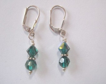 SALE Emerald Green Swarovski Crystal Earrings