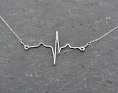 Sterling Silver Custom heart beat necklace - accurate representation of heartbeat on EKG, RN MD graduation gift