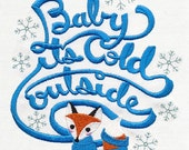 Chilly Fox Embroidered Cotton Kitchen Towel, 'Baby, it's cold outside'