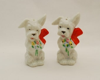 Vintage White Terrier Dog Salt and Pepper Shakers - 1950's - Big Orange Bows and Flower Bouquets - Japan