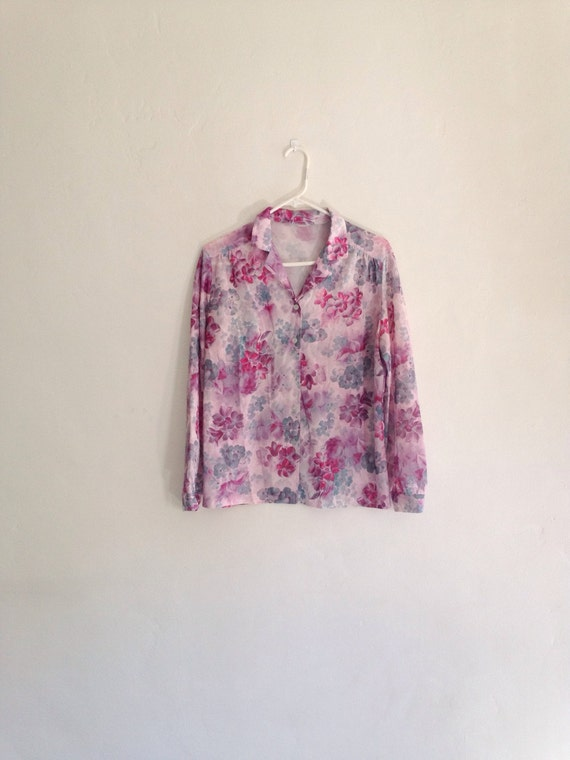 Vintage top 1980s pink and purple pastel floral button down for Pastel pink button down shirt