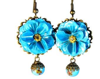Turquoise Blue Flower Dangle Earrings, Vintage Inspired Jewelry,