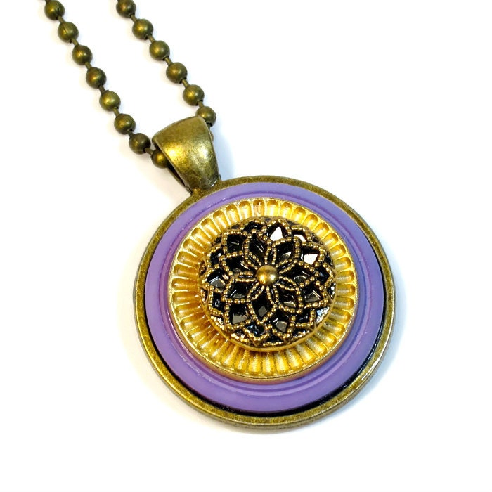Lavender Button Pendant Necklace Upcycled Jewelry With