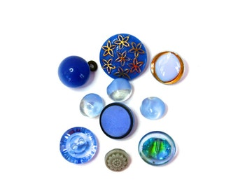 Vintage Glass Buttons Fancy Blue Mixed Glass Buttons Lot of 10
