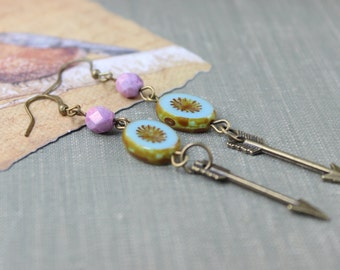 Soft Lilac, Blues/Green Starburst and Aarrow Earrings