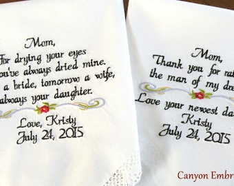 Mother of the Bride and Groom, Embroidered Wedding Handkerchief Set Mother In Law, Mother, Wedding Set of 2, Wedding Gift, Canyon Embroidery