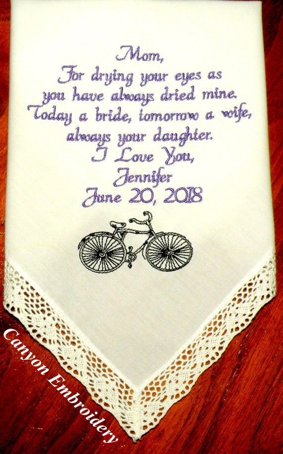 bike wedding themed handkerchief