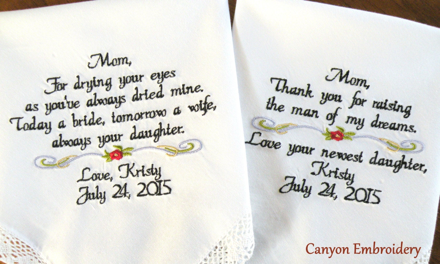 Embroidered Wedding Handkerchief GIFTS FOR MOM by CanyonEmbroidery