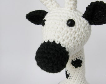 Amigurumi Giraffe Baby Toy Rattle - organic cotton - black and white - eco friendly toy