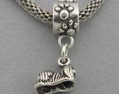 3D PEKINGNESE DOG Sterling Silver 925 European Dangle Bead Miniature Charm 3545