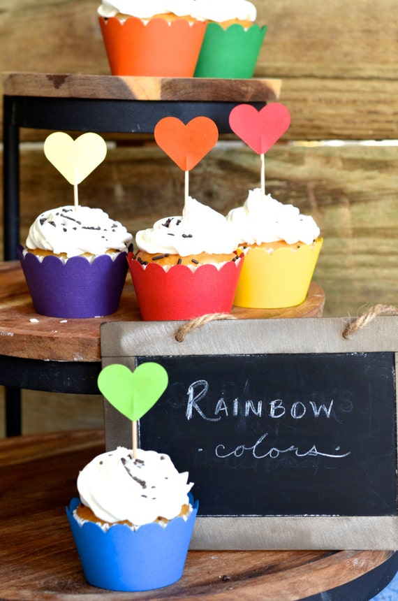 Rainbow Colored Cupcake Wrappers, choose your color!