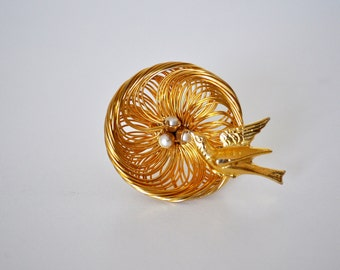 Unique Vintage Bird Nest Brooch