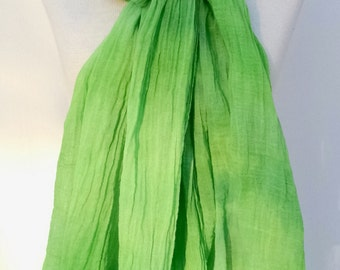 Hand Dyed Scarf, Bright Green, Extra Large Gauze Scarf, Nomad Style Scarf, Ready to Ship