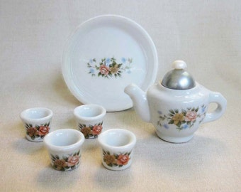 Vintage Miniature Toy Tea Set, 6 Piece White Porcelain Ceramic Tea Set with Pink, Lavender Rose and Blue Flower Design