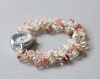 Cherry jade bracelet watch, womens watch bracelet