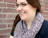 Infinity Scarf Cowl, Hand Knitted Loop Cowl, Cable Pattern Cowl Svarf, Mens Cowl, Women's Fashion, Autumn - Taupe, Brown, Purple, Ecru melee