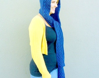 Hooded Scarf, Scarf with Hood, Scoodie, Scarf Hoodie, Blue Hand Knitted Hood Scarf, Winter Knitwear, Men's Fashion - Royal Cobalt Blue