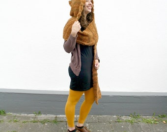 Hooded Scarf, Knit Scoodie, Fuzzy Scarf with Hood, Orange Brown Scarf with Pixie Hat, Hand Knitted Hood Scarf, Women Winter Fashion Teens
