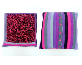 20 inch Pillow Case, Bright Striped Pillow Cover, Hand Knitted Square Pillow, Home Decor, Girls Dorm Room Neon Pink, Purple, Black, Gray