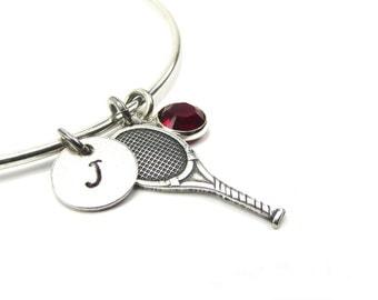 New Tennis Bangle Bracelet With Birthstone & Initial Charm- Personalized Bracelet- Custom Jewelry