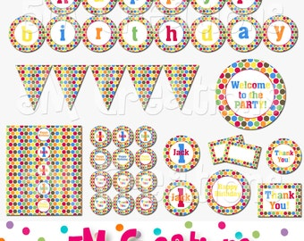 Polka Dot Birthday Party Printable Decorations Package - Personalized Party Package - Candy Party Package - banner cupcake toppers - pdf
