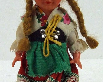 Vintage Small Miniature German Swiss Girl Doll with Long Braids Authentic Costume ATCTTEAM