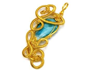 Statement Gold Pendant, Blue Stone Pendant, Larimar Pendant, Gold Necklace, Gemstone Pendant, Necklace Pendant, Gift for Her